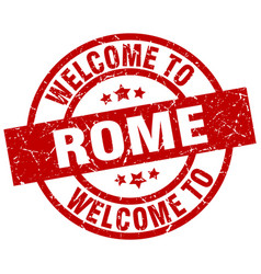 welcome to rome red stamp vector image