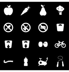 white diet icon set vector image