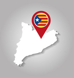 White map of catalonia with pointer flag vector