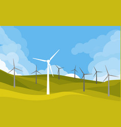 windmills in green fields vector image