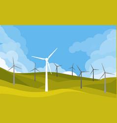 Windmills in green fields vector