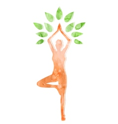 Woman in Yoga Tree Pose Isolated on White vector image