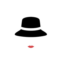 woman with red lips wearing retro hat vector image