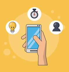 Yellow background with hand holding smartphone in vector