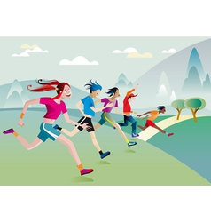 boys and girls running vector image