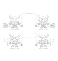 Dwarfs with banners outline set vector image