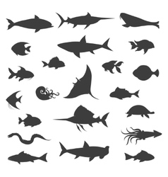 Fish black silhouettes icons vector image vector image