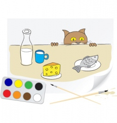 hungry cat vector image vector image
