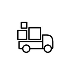 line delivery truck icon on white background vector image vector image