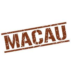 Macau brown square stamp vector