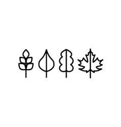 Thin line tree leaf icons vector image vector image
