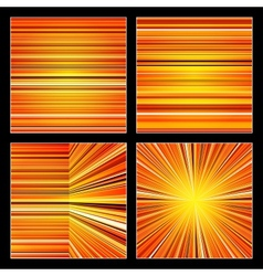 Abstract striped orange colorful backgrounds set vector image vector image