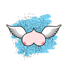 flying tit boobs with wings flying sorority logo vector image vector image