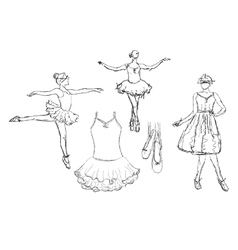 Hand drawn Ballerina dance in tutu vector image