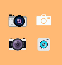 set of camera flat icons vector image
