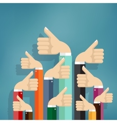 Business people holding many thumbs up vector image vector image
