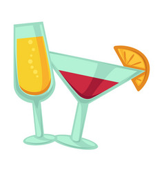 champagne and martini glasses with drinks isolated vector image