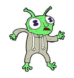 Comic cartoon alien spaceman vector