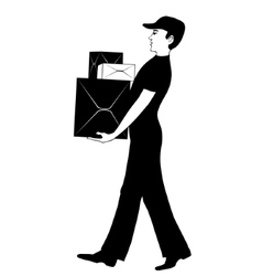 Man in uniform carries cardboard boxes vector image vector image