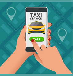 online taxi-service concept man orders a taxi vector image
