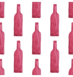 Seamless watercolor pattern with wine bottles vector image vector image