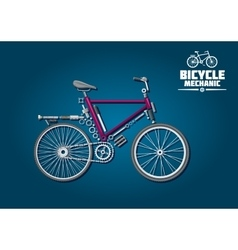 Bicycle icon with mechanical parts and accessories vector image vector image
