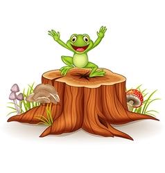 Cartoon happy frog jumping on tree stump vector image vector image