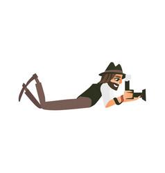 photographer journalist reporter lying on ground vector image vector image