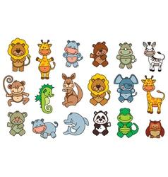 set funny cartoon animals vector image vector image