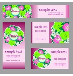 Set of four cards with floral pattern in pink vector image vector image