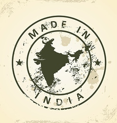 Stamp with map of India vector image vector image