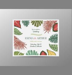 wedding invitation card vintage engraved template vector image