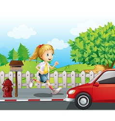 A girl running along the road vector