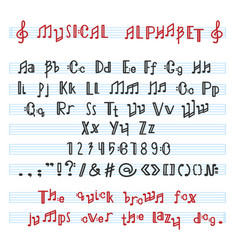 alphabet abc musical alphabetical font with vector image