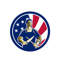 American butcher usa flag icon vector