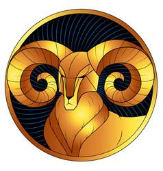 Aries golden zodiac sign horoscope symbol vector