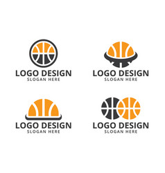 basketball logo design template on pack vector image