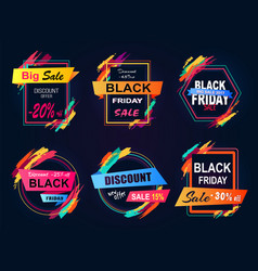 big sale black friday set on vector image