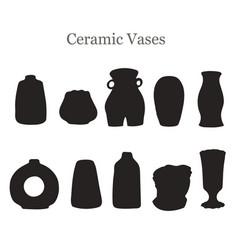 Black silhouette set with ceramic vector