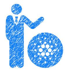 Businessman show cardano icon grunge watermark vector