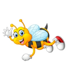 Cartoon bee waving hand isolated on white backgrou vector