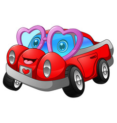 Cartoon car in love vector
