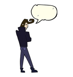 cartoon cool guy with speech bubble vector image