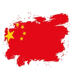 China Flag grunge style on white background Brush vector image