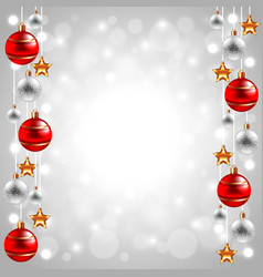 Christmas balls on white winter background vector
