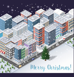 christmas winter city background d vector image