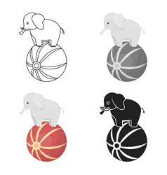 circus elephant icon in cartoon style isolated on vector image