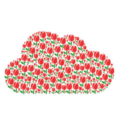 cloud mosaic of tulip icons vector image