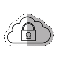 Cloud padlock secuirty system technology thin line vector