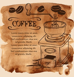 Coffee grinder and beans on a watercolor vector image